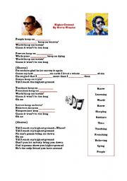English Worksheets: Higher Ground By Stevie Wonder