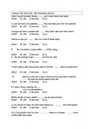 English Worksheets: But - Because-so-and