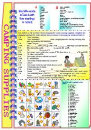 Shopping For Camping Supplies with answer key** fully editable