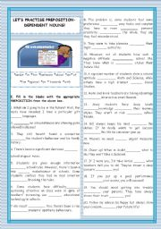 English worksheet: LET´S PRACTISE PREPOSITION-DEPENDENT NOUNS!