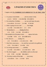 English Worksheet: LINKERS OF PURPOSE