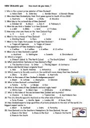 English Worksheet: New Zealand quiz