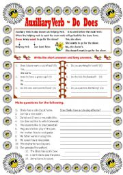 English Worksheet: Auxiliary Verb - Do -Does-Did