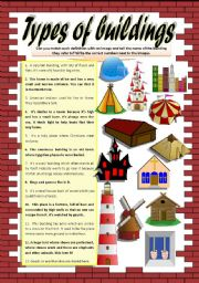 English Worksheet: KINDS OF HOMES and BUILDINGS