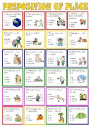English Worksheets: preposition of places