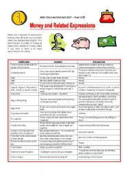 English Worksheets: MONEY AND MONEY-RELATED EXPRESSIONS - BRITISH ENGLISH