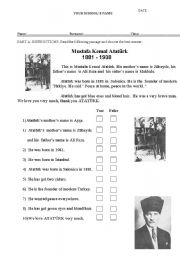 An elementary reading text about ATATÜRK and True False questions.