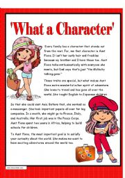 English Worksheets: What a Character - Reading Comprehension