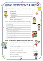 English Worksheets: Asking questions in the present
