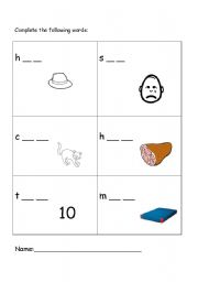 English Worksheets: complete the words according to the drawing