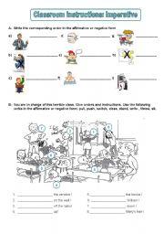 English Worksheet: Classroom instructions: imperative, exercises (editable) 2/2