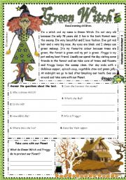 English Worksheet: Green Witch