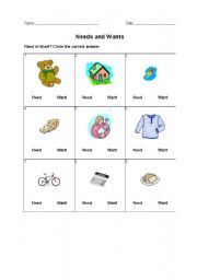 English Worksheet: Needs and Wants