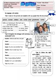 English Worksheet: MID TERM TEST 7TH FORM
