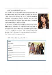 English Worksheet: worksheet Miley cyrus