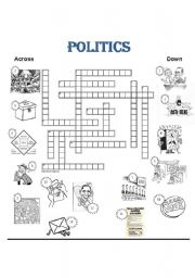 English Worksheet: Politics Crossword