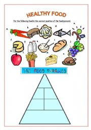 English Worksheet: Healthy food pyramid