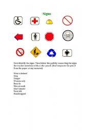 English Worksheets: Signs and symbols