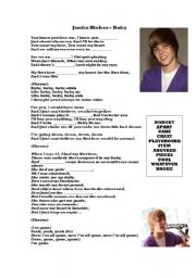 English worksheets: Baby Lyrics by Justin Bieber