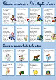 English Worksheet: Short answers - Present tenses - Multiple choice
