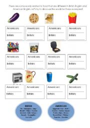 English Worksheet: Food - American English x British English