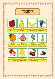 English worksheet: fruits pictionary