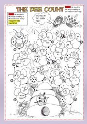English Worksheets: The bee count . (part 1) - numbers 0-80-.