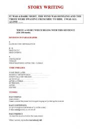 English Worksheet: Writing a story at First Certificate level