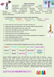 English Worksheet: Shopping (types of shops)