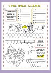 English Worksheet: The bee count (part.2) - numbers 0-80-