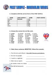 IRREGULAR VERBS IN THE SIMPLE PAST