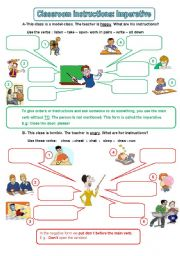 English Worksheet: Classroom instructions, imperative (editable) 1/2