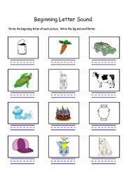 English Worksheets: beginning letter sound letters C and J
