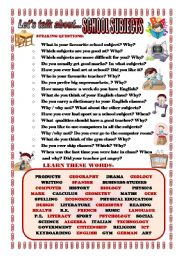 English Worksheet: LET�S TALK ABOUT SCHOOL SUBJECTS (SPEAKING SERIES 87)