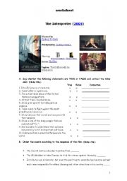 English Worksheets: Worksheet  about the film
