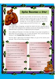 English Worksheets: Spike Becomes a Star - Reading Comprehension