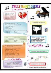 English Worksheet: Song TRULY MADLY DEEPLY by Savage Garden