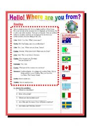 English Worksheet: Reading- Where are you from?