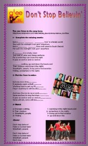 English Worksheet: Don�t stop believin� - Glee - Listening activity