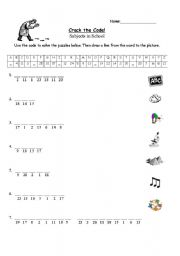 Cracking the Code Worksheet http://www.eslprintables.com/vocabulary_worksheets/school/school_subjects/index.asp?page=7