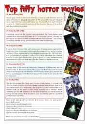 English Worksheet: Top fifty horror movies [part 01/10] (comprehension, writing, pair work + superlatives) [3 pages] ***fully editable