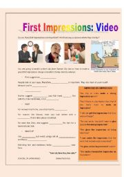 English Worksheet: FIRST IMPRESSIONS - Speaking/Video Activity