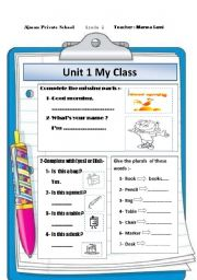 English Worksheets: My class objects