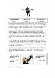 English Worksheets: Lady Gaga reading & worksheet