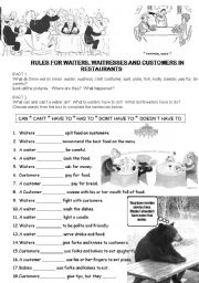 English Worksheet: Restaurant Rules