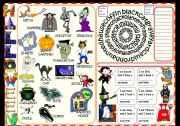 Halloween pictionary and games for beginners - fully editable
