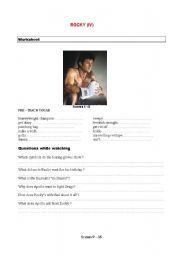 English Worksheets: Movie  Rocky IV