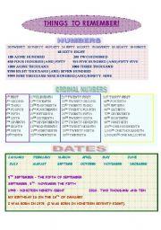 English Worksheet: Numbers&dates