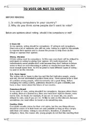 English Worksheets: To vote or not to vote?
