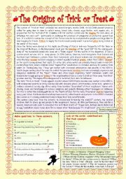 English Worksheets: THE ORIGINS OF �  TRICK OR TREAT �.